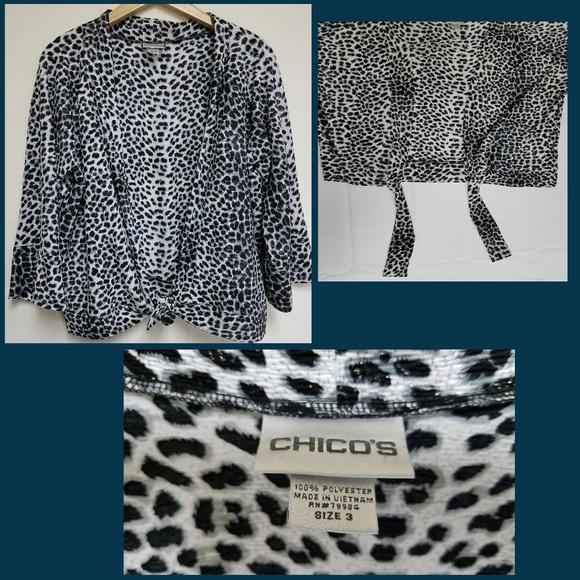 b11092aa2b03e8 Chico s Tops - Chico s Black White Leopard Print Tie Front Jacket